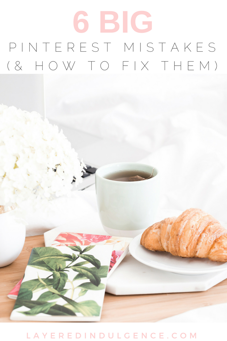 Are you stuck when it comes to learning about social media and Pinterest specifically? Check out this post to see 6 of the biggest Pinterest mistakes people make and figure out if you are making them too. You'll also find out how to fix them to get more followers and click-throughs to your blog! Read the post now and save it for others to read too!