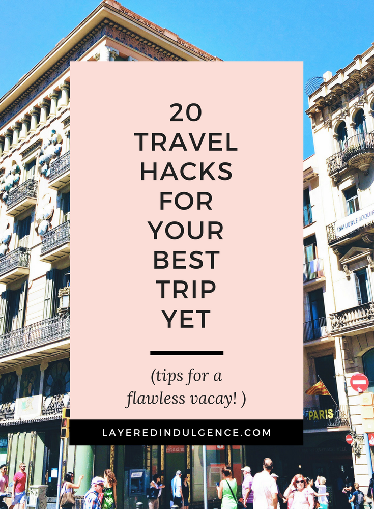 Travel hacks for your best trip yet! These 20 airplane and packing tips are perfect to get you through long flights without a hitch! From carry on tips to DIY tips to makeup and budget tips, these are the best travel hacks for your International getaways!