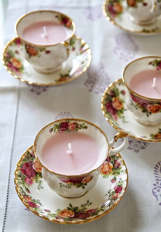 easy diy gifts vintage tea cup candles
